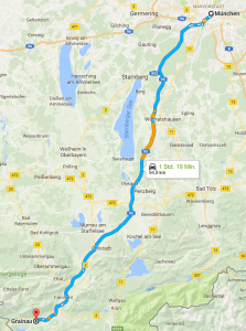Driving directions from Munich